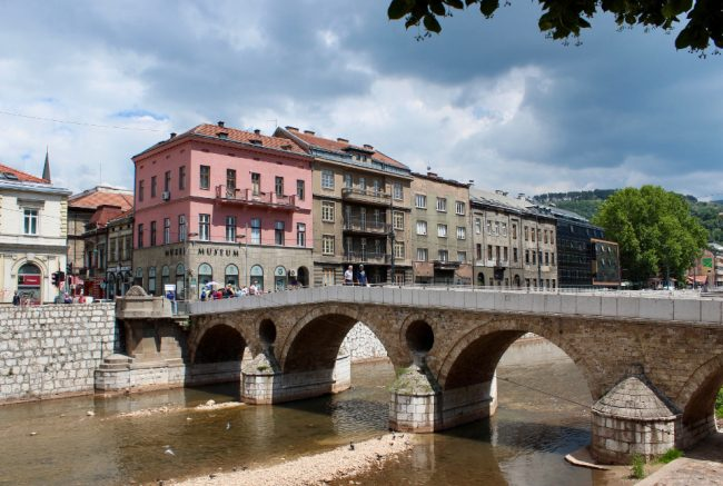 Latin Bridge leading into the Old Town of Sarajevo (solo woman in Bosnia)