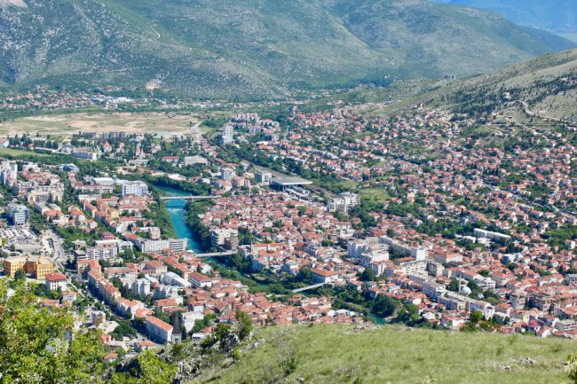 View of Mostar from the mountains (solo woman in Bosnia)