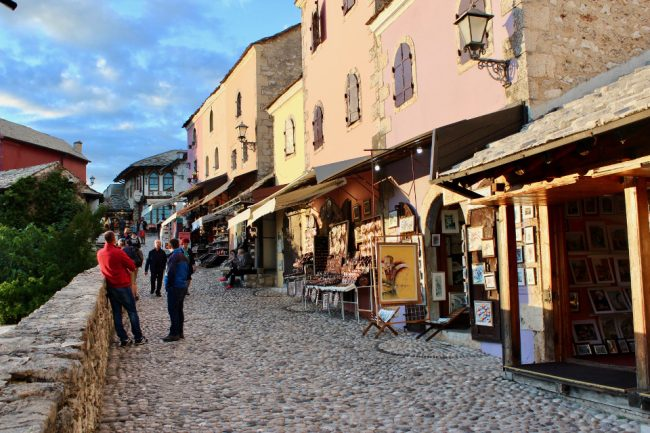 Cobblestones and shops in the Old Town of Mostar (solo woman in Bosnia)