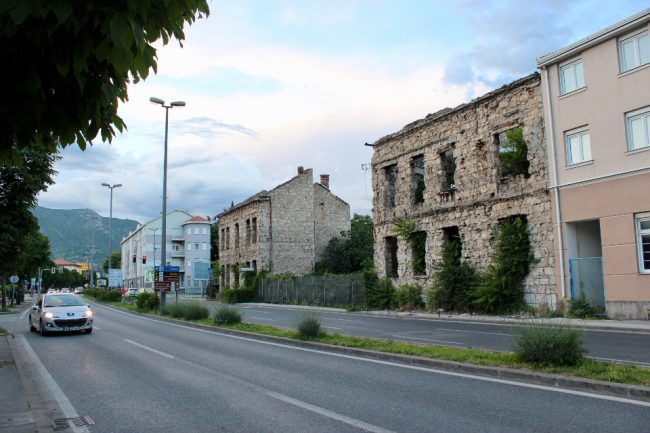 Ruins along the boulevard in Mostar (solo woman in Bosnia)
