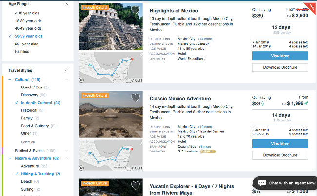 TourRadar interface: how to choose a tour (best group tour)