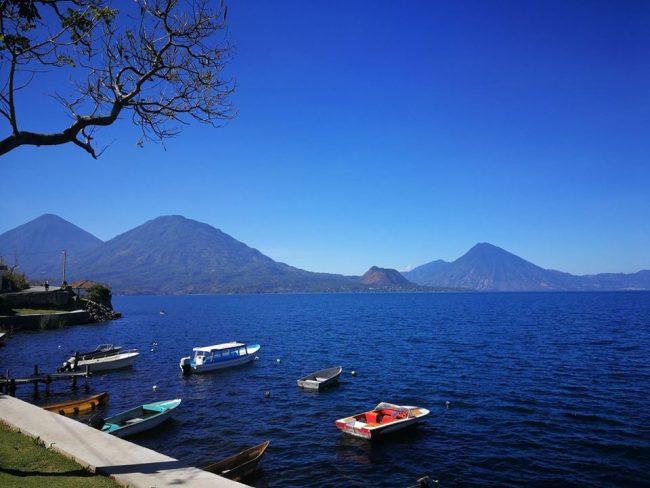 Lake Atitlan near Panajachel with boats ready to go