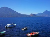 Lake Atitlan near Panajachel with boats ready to go