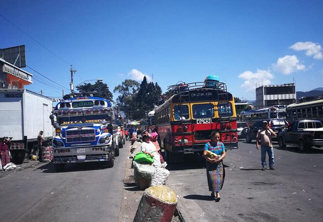 Chicken buses in the city of Quetzaltenango (Xela) two hours from Panajachel