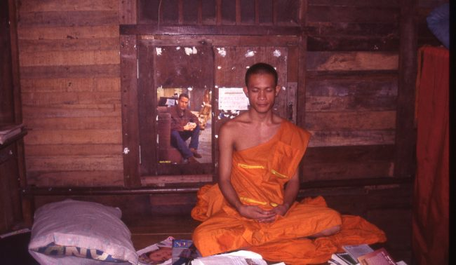 "The young monk sitting in his wooden ""room"" (monk story)"