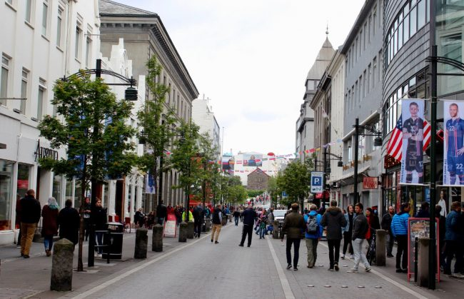Street in downtown Reykjavic, Iceland (overtourism)