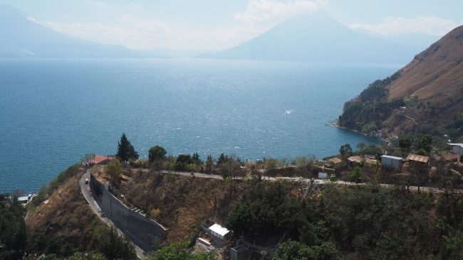 Road climbing up to the village of Santa Cruz (visit Lake Atitlan)