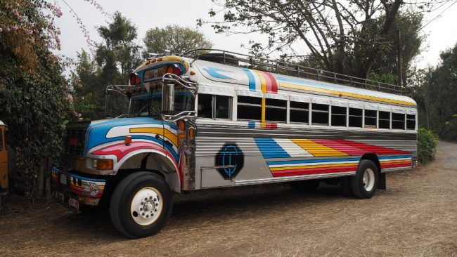 A chicken bus in Guatemala. Better avoided. (visit Lake Atitlan)