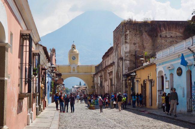 Arco de Santa Catalina with volcano El Agua in the background (Antigua Guatemala)