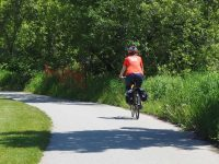 Cycling along the Lower Don Trail, Toronto