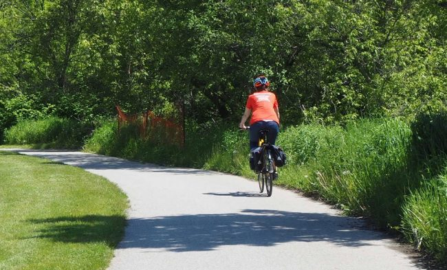 Cycling along the Lower Don Trail, Toronto (guided cycling tour)