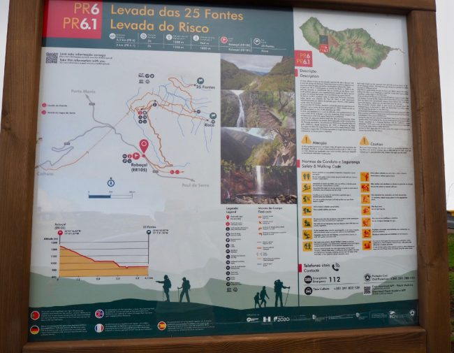 Detailed map at the start of PR trails (hikes in Madeira)