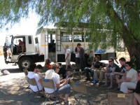 Group tour in Africa using an expedition truck