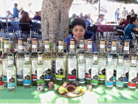 Mezcal booth at an outdoor market (Oaxaca)