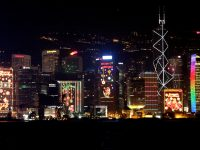 Animated Christmas light displays on Hong Kong buildings