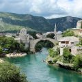 View of the Old Bridge (Mo star) from another bridge (solo woman in Bosnia)